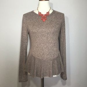 PAPER CRANE Peplum Marled Knit Top Size Medium